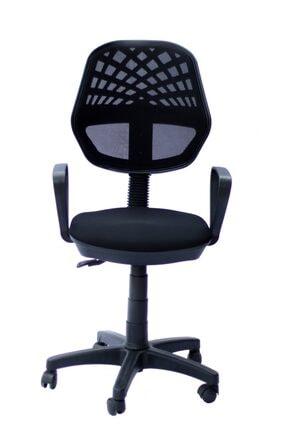TOMAR Fileli Kollu Personel Koltuğu Ofis Koltukları Büro Bilgisayar Koltuğu Sekreter Sandalyesi - Siyah 1