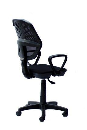 TOMAR Fileli Kollu Personel Koltuğu Ofis Koltukları Büro Bilgisayar Koltuğu Sekreter Sandalyesi - Siyah 2