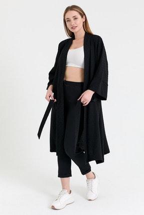 NFREE Kadın Siyah Şerit Yaka Yarım Kol Küçük Puantiyeli Kuşak Kapama Tunik 0