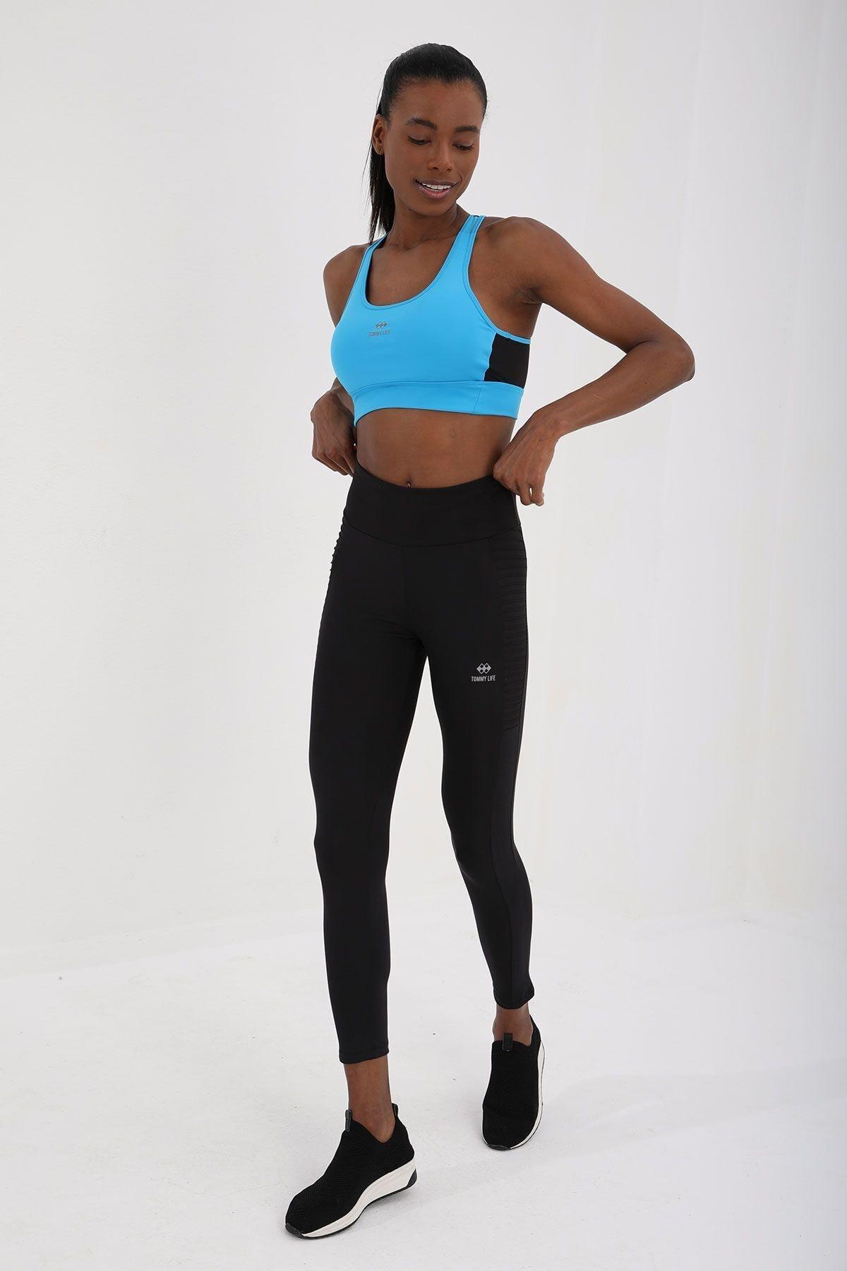 Kadın Turkuaz Çapraz Sırt Detaylı Slim Fit U Yaka Spor Büstiyer - 97121