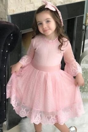 Riccotarz Kız Çocuk Prenses Güpürlü Pudra Elbise 4