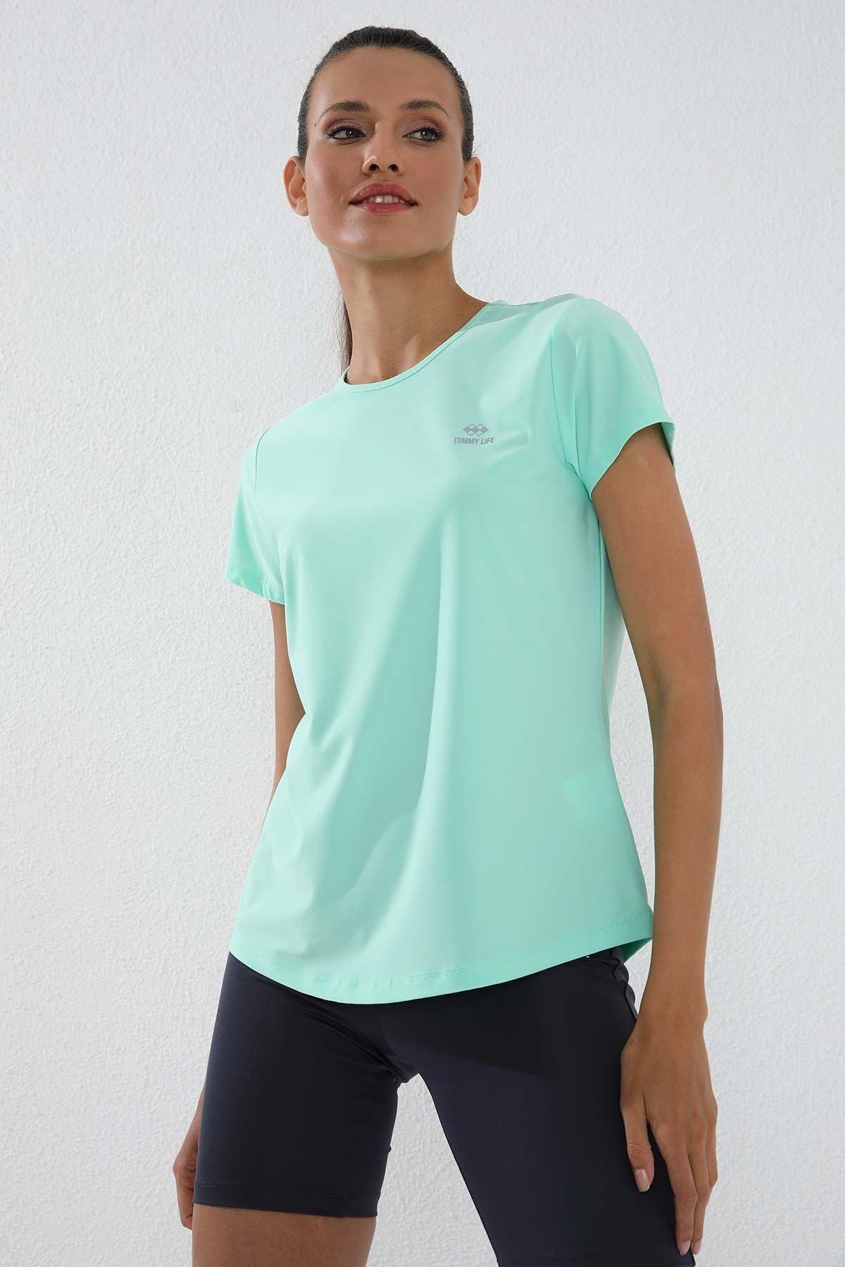 Mint Yeşili Kadın Basic Kısa Kol Standart Kalıp O Yaka T-shirt - 97144