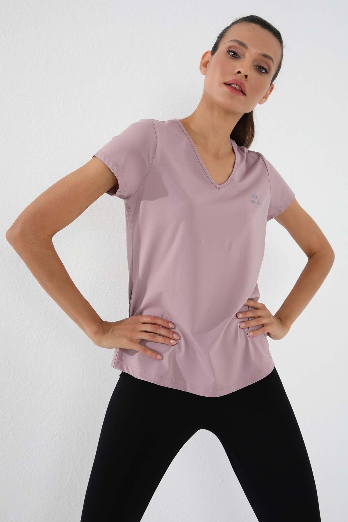 Gül Kurusu Kadın Basic Kısa Kol Standart Kalıp V Yaka T-shirt - 97145
