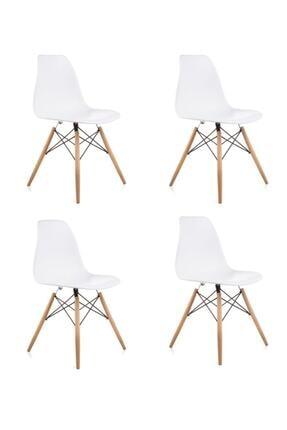 Dorcia Home Beyaz Eames Sandalye - 4 Adet - Cafe Balkon Mutfak Sandalyesi 0