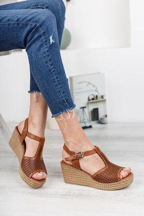 Deripabuc Hakiki Deri Taba Kadın Dolgu Topuklu Deri Sandalet Dp55-2626 1