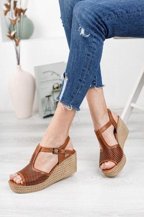Deripabuc Hakiki Deri Taba Kadın Dolgu Topuklu Deri Sandalet Dp55-2626 2