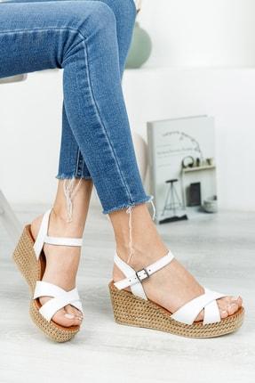 Deripabuc Hakiki Deri Beyaz Kadın Dolgu Topuklu Deri Sandalet DP55-2627 1