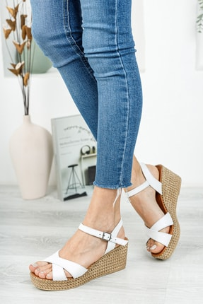 Deripabuc Hakiki Deri Beyaz Kadın Dolgu Topuklu Deri Sandalet DP55-2627 3