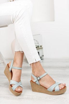Deripabuc Hakiki Deri Mavi Kadın Dolgu Topuklu Deri Sandalet Dp55-2627 0