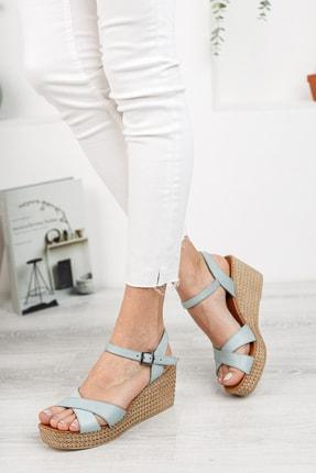 Deripabuc Hakiki Deri Mavi Kadın Dolgu Topuklu Deri Sandalet Dp55-2627 2