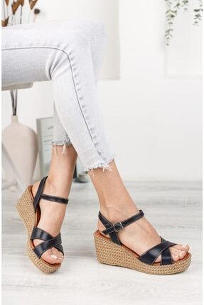 Deripabuc Hakiki Deri Lacivert Kadın Dolgu Topuklu Deri Sandalet Dp55-2627 1