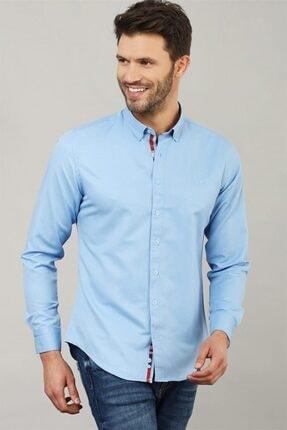 Tudors Slim Fit Düz Mavi Spor Erkek Gömlek 1