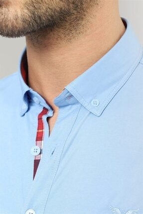 Tudors Slim Fit Düz Mavi Spor Erkek Gömlek 2
