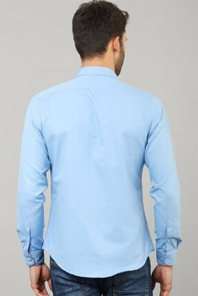 Tudors Slim Fit Düz Mavi Spor Erkek Gömlek 3