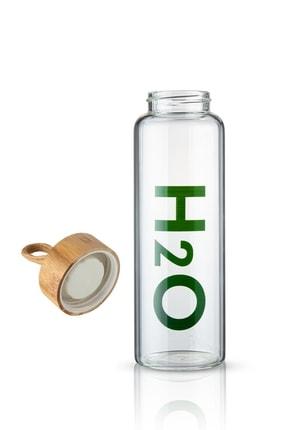 Selenica Bambu Kapaklı Bez Kılıflı H2o Borosilikat Cam Matara 600ml 2