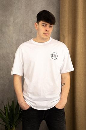 wamoss Erkek Beyaz Oversize Never Give Up T-shirt 1