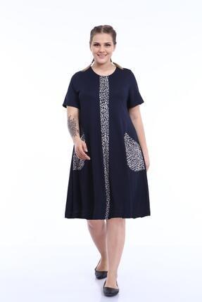 Picture of Kadın Büyük Beden Yarım Kol Elbise Lacivert