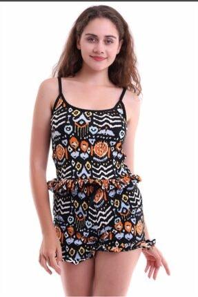 Kadın Ip Askılı Fırfırlı Desenli Mor Pijama Takım ŞTKM7001TURUNCU