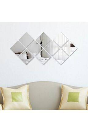 GİZEM SHOP Dekoratif Kare Pleksi Ayna Gümüş 3