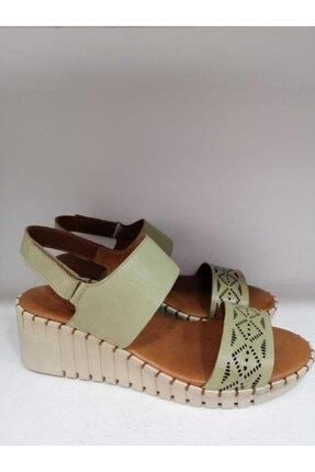 Kadın Dolgu Topuk Deri Sandalet Yeşil 4005