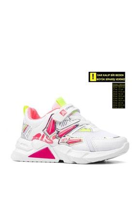 Alessio Kız Çocuk Beyaz Fuşya Yazlık Spor Ayakkabı 0