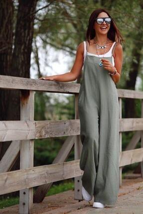 lovebox Kadın Haki  Aerobin Kumaş Cepli Tasarım Tulum 0