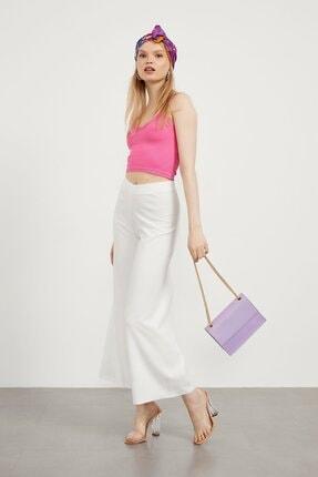 Picture of Kadın Beyaz Scuba Crep Lastikli Pantolon