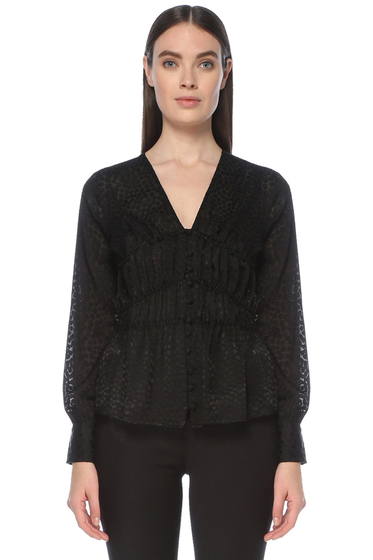 Kadın Siyah Siyah V Yaka Desenli Gömlek 1076342