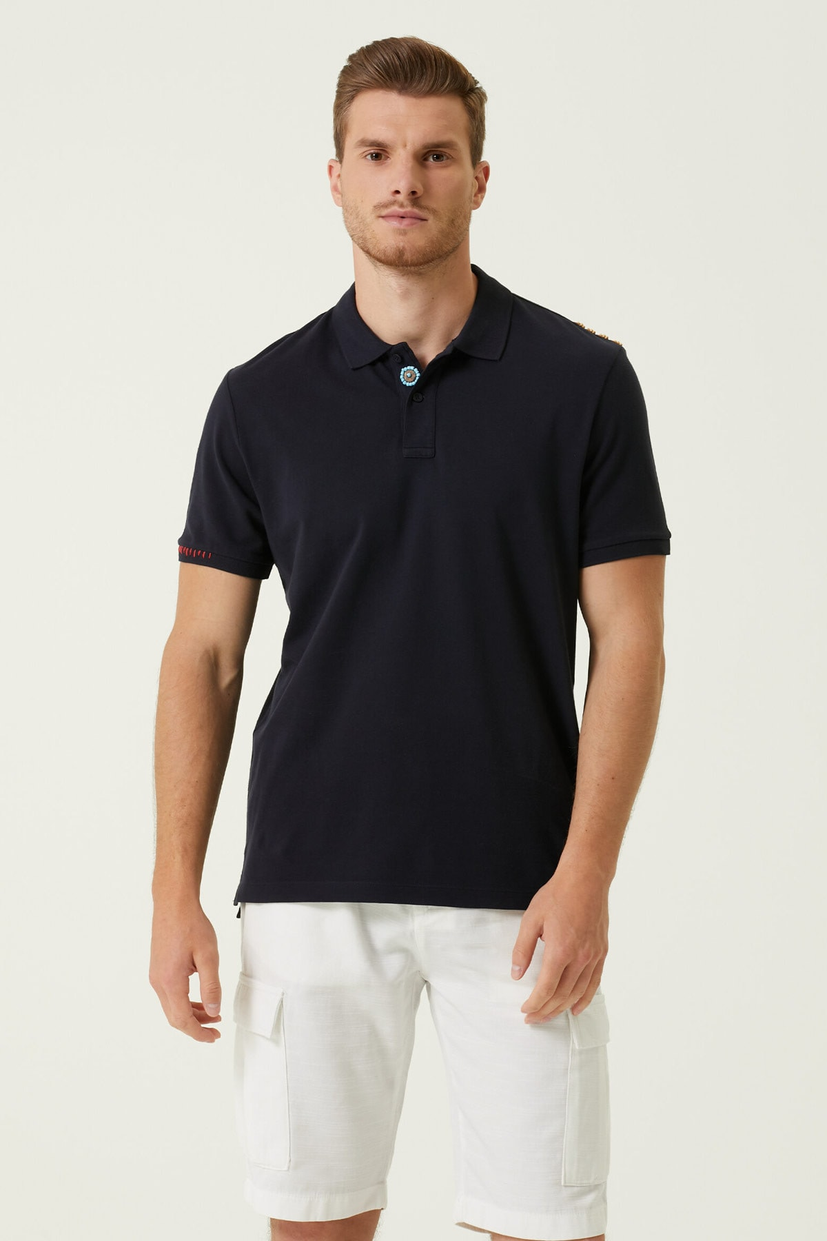 Erkek Comfort Fit Lacivert Polo Yaka T-shirt 1078122