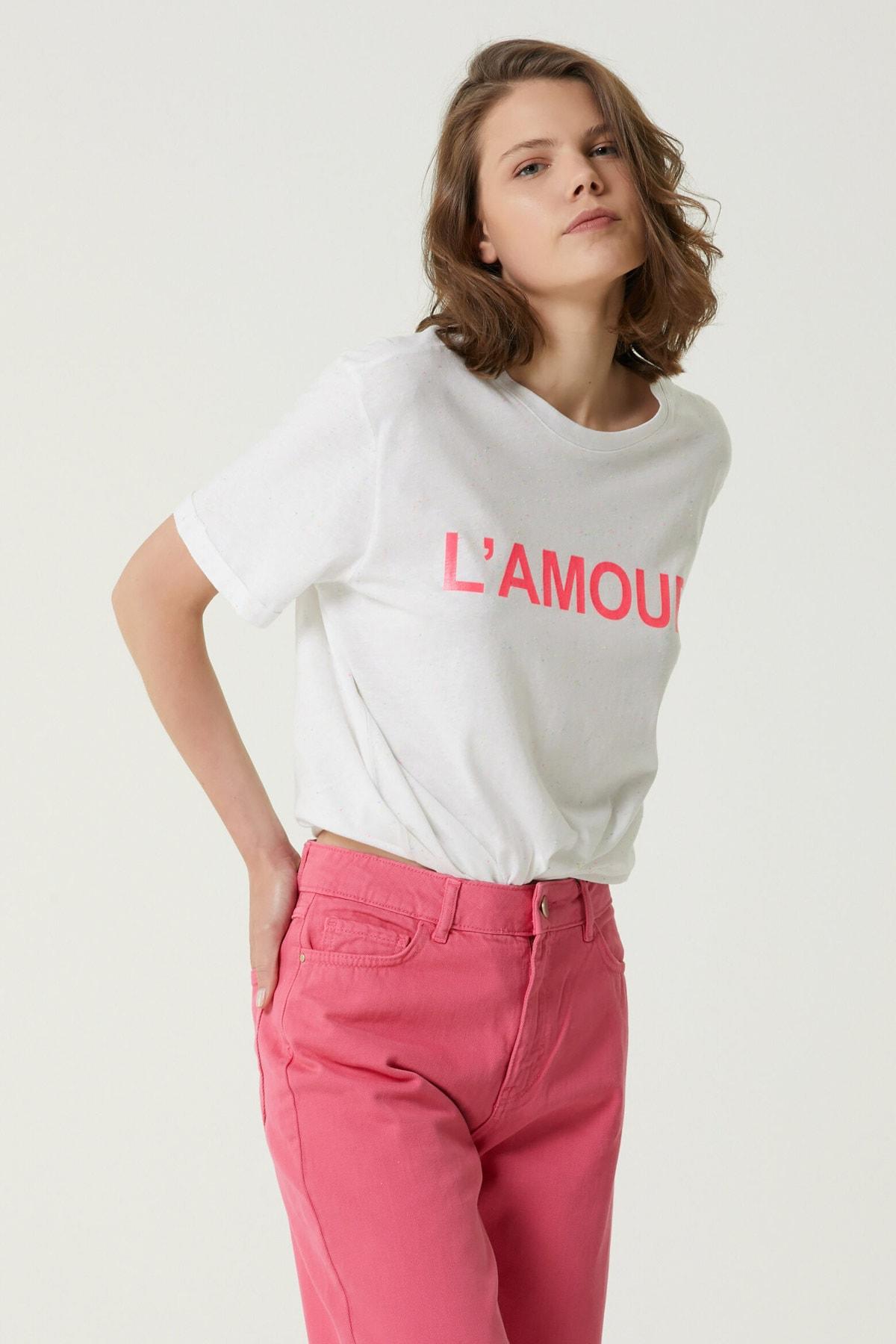Kadın Basic Fit Ekru Baskılı T-shirt 1079940