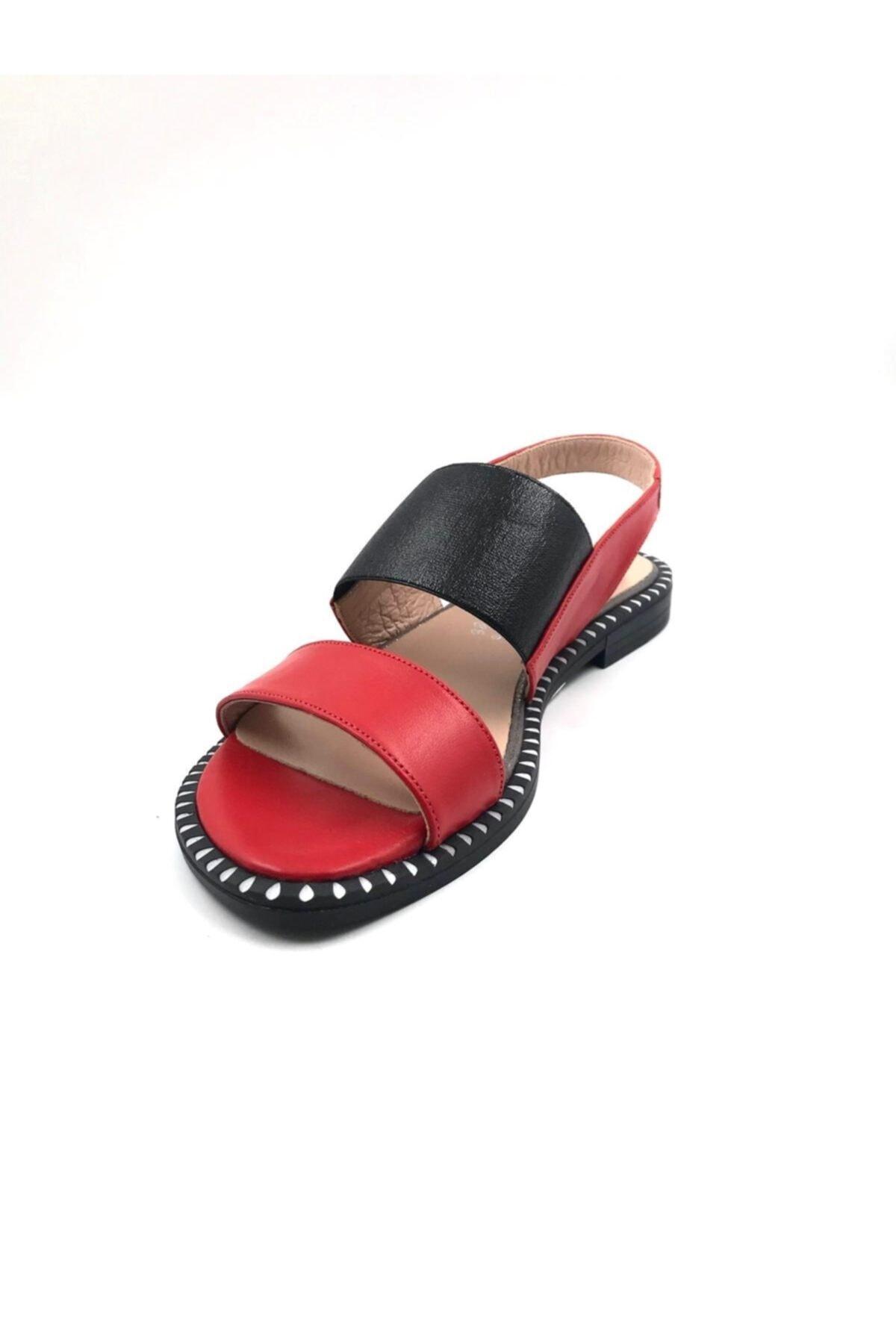 Deri Kırmızı  Sandalet