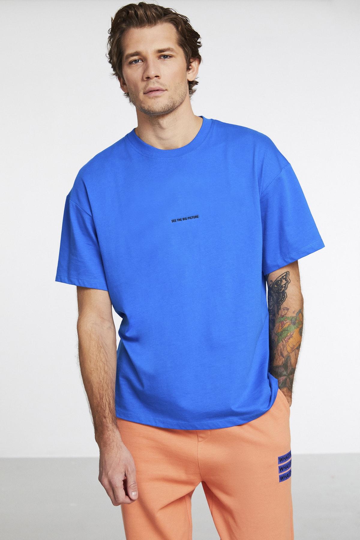 Rıver Erkek Parlement Mavi Önü Yazı Nakışlı Kısa Kollu Oversize T-shirt