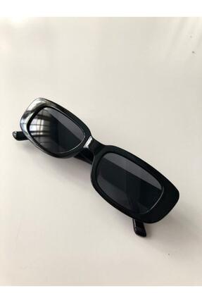 LOOKUP Unisex Siyah Kare Dikdörtgen Vintage-Retro Güneş Gözlüğü 0