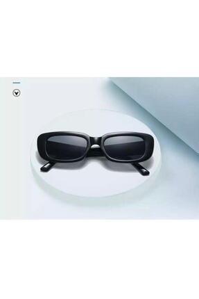 LOOKUP Unisex Siyah Kare Dikdörtgen Vintage-Retro Güneş Gözlüğü 1