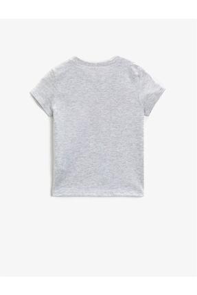 Koton Kız Çocuk Gri Baskılı Kısa Kollu Bisiklet Yaka Pamuklu T-Shirt 1
