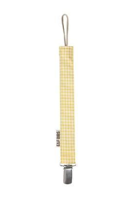e&f Store Sarı Pötikare Emzik Askısı - Sertifikalı Kumaş Pamuk Bağcıklı Emzik Zinciri 0