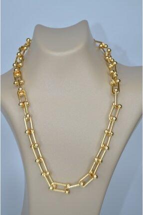 Kadın Altın Sarısı Altın Kaplamalı Kalın Zincir Kolye zincir
