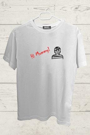 darko Unisex Beyaz Hi Mummy Tasarımlı Tişört 0