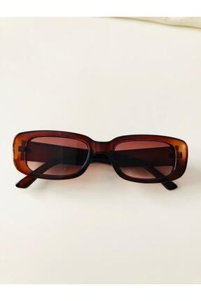 LOOKUP Kadın Kahverengi Kare Dikdörtgen Vintage Retro Güneş Gözlüğü 2