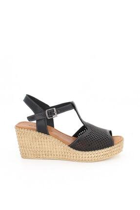 Deripabuc Hakiki Deri Siyah Kadın Dolgu Topuklu Deri Sandalet Dp55-2626 4
