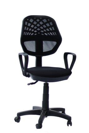 TOMAR Fileli Kollu Personel Koltuğu Ofis Koltukları Büro Bilgisayar Koltuğu Sekreter Sandalyesi - Siyah 0