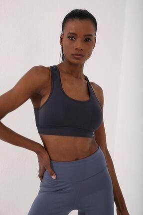 Antrasit Kadın Sırt Detaylı Slim Fit U Yaka Spor Büstiyer - 97120 resmi