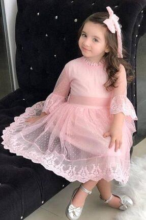 Riccotarz Kız Çocuk Prenses Güpürlü Pudra Elbise 1