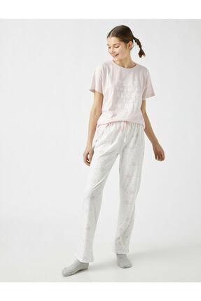 تصویر از %100 Pamuk Yazılı Baskılı Pijama Takımı - Lila