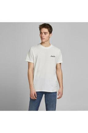 Jack & Jones Erkek Beyaz Logolu Tişört 0