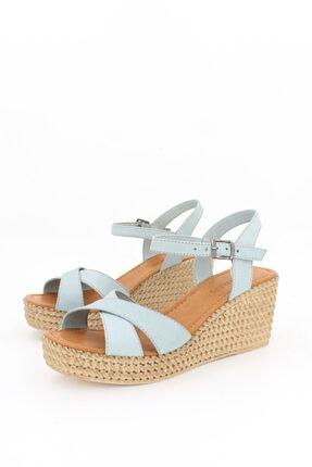 Deripabuc Hakiki Deri Mavi Kadın Dolgu Topuklu Deri Sandalet Dp55-2627 4