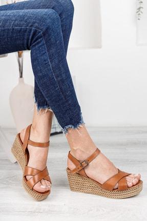 Deripabuc Hakiki Deri Taba Kadın Dolgu Topuklu Deri Sandalet Dp55-2627 1
