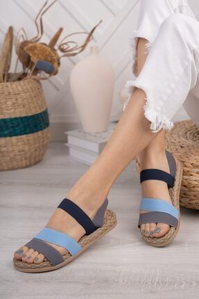 Daxtors Kadın Gri Günlük Ortopedik Şeritli Sandalet D035 1