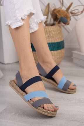Daxtors Kadın Gri Günlük Ortopedik Şeritli Sandalet D035 2