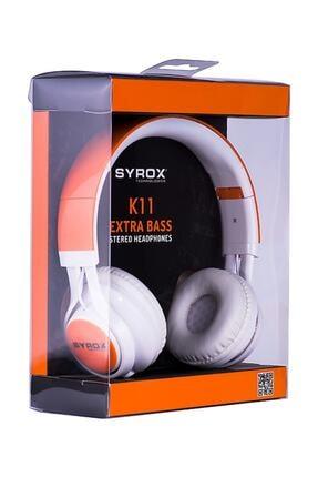 Syrox J-50 K11 Turuncu Kulaküstü Mikrofonlu Aux Kablolu Kulaklık 0